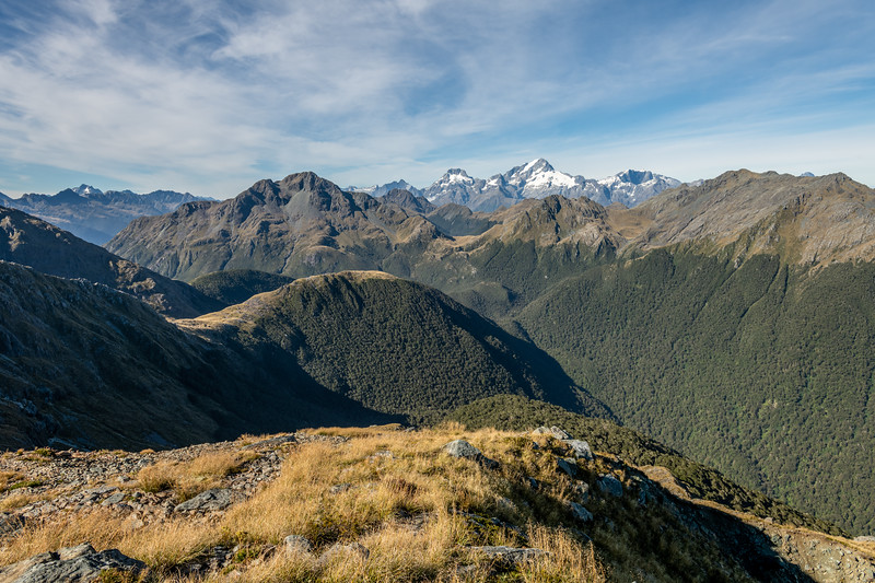 Looking south-west over the Skippers Range from Pt 1401m. From left to right are Somnus, Pt 1620m, Mount Te Wera, Mount Madeline, Mount Tutoko, Mount Parariki, Paranui Peak, Pt 1507m, Mount Pembroke. Fiordland National Park.