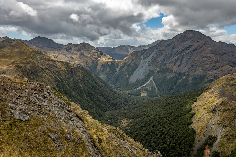 Looking back to Pt 1507m (left) and Pt 1620m (right) from Pt 1307m. Skippers Range, Fiordland National Park.