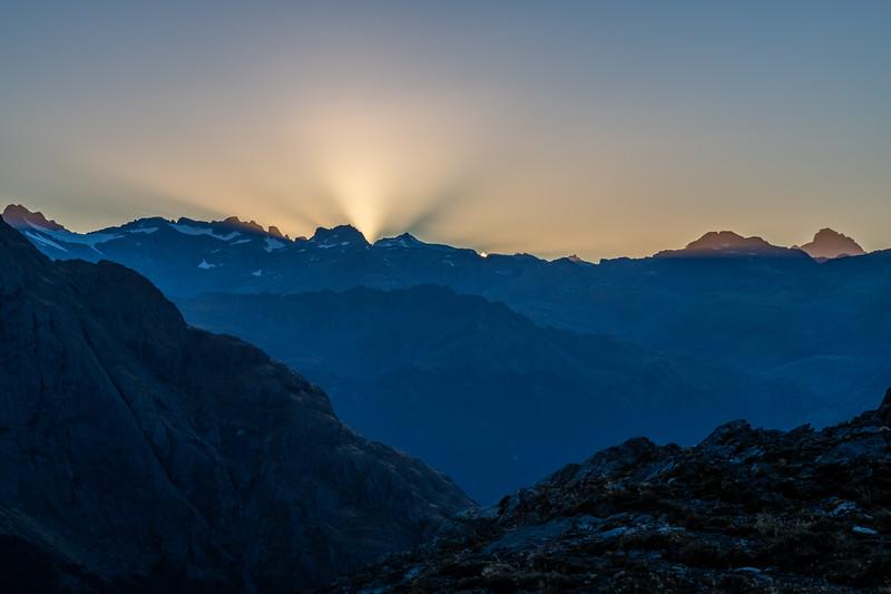 Mount Head and Sir William Peak at dawn. Skippers Range, Fiordland National Park.