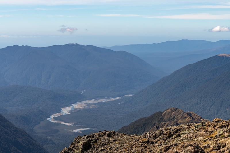 View from Skippers Range High Point: The Pyke River just below the gorge; McKenzie Range back left. .Skippers Range, Fiordland National Park.
