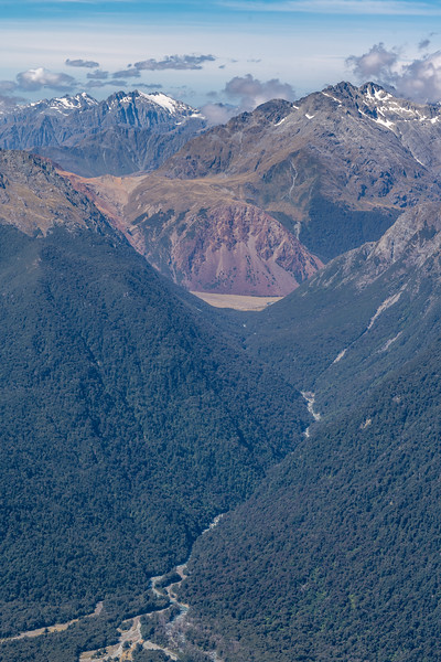 View up the Barrier River and Stag Pass from Skippers Range High Point. Joe Peak, Remote Peaks and Elespie above. Skippers Range, Fiordland National Park.