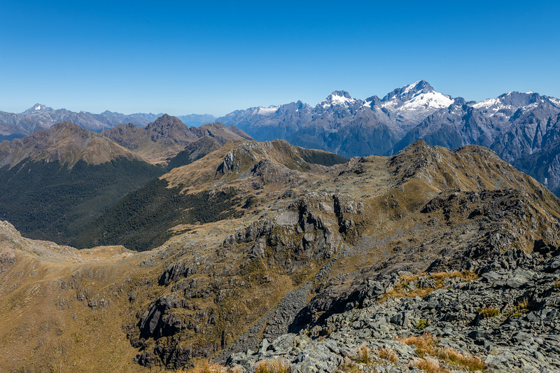 View of the Darran Mountains from Pt 1507m. Skippers Range, Fiordland National Park.