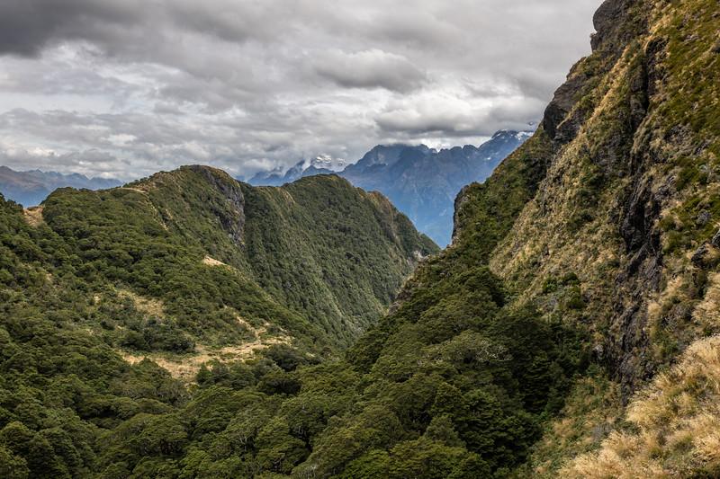 Gorge west of Lake Mantle. Skippers Range, Fiordland National Park.