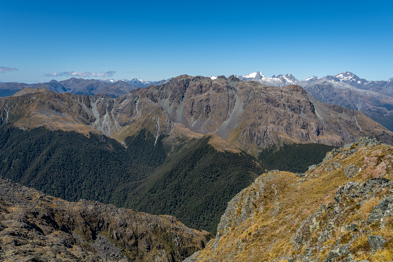 Skippers Range High Point from Pt 1507. The Olivine Range is in the background. Fiordland National Park.