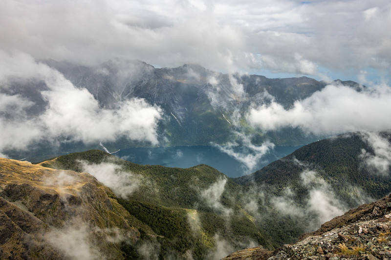 View of Lake McKerrow from Pt 1552m. Skippers Range, Fiordland National Park.