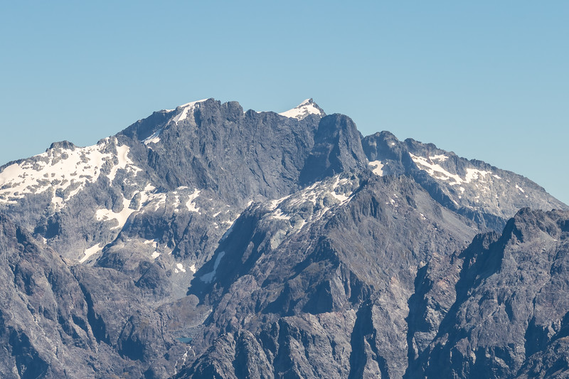 View of Mt Parariki, Paranui Peak and Kaipo Wall from Pt 1507m, Skippers Range. Fiordland National Park.