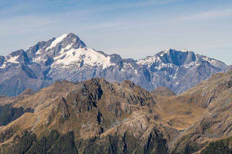 Mount Tutoko, Mount Parariki and Paranui Peak from Pt 1401m, Skippers Range, Fiordland National Park.