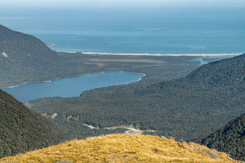 View of Lake McKerrow and Martins Bay from Pt 1401m, Skippers Range. Fiordland National Park.