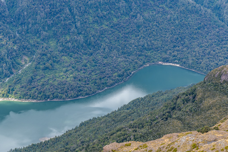 View of Lake Alabaster and Lake Alabaster Hut from the Skippers Range. Fiordland National Park.