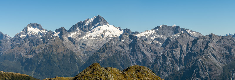 Darran Mountains panorama from Pt 1507m. Skippers Range, Fiordland National Park.
