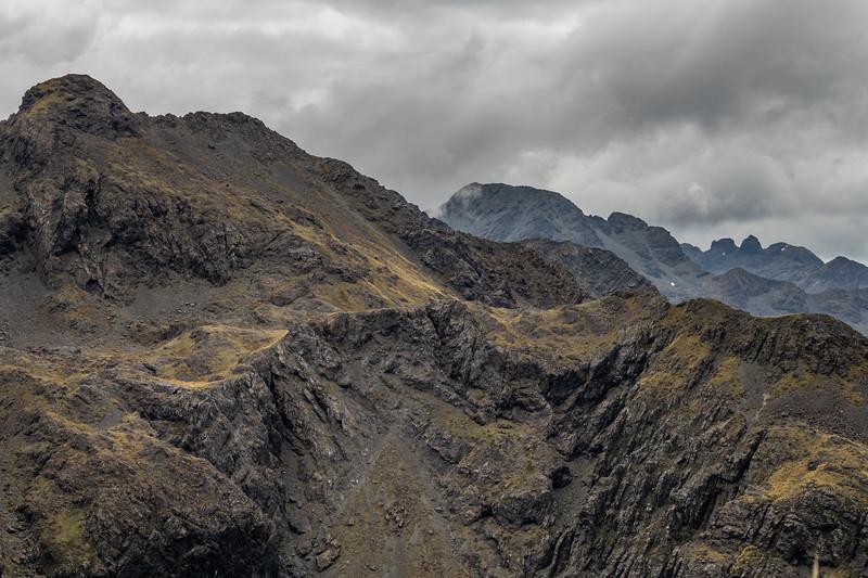 Looking north along the Skippers Range: Pt 1552m (left), Pt 1620m (centre), Pt 1636m (right). Fiordland National Park.