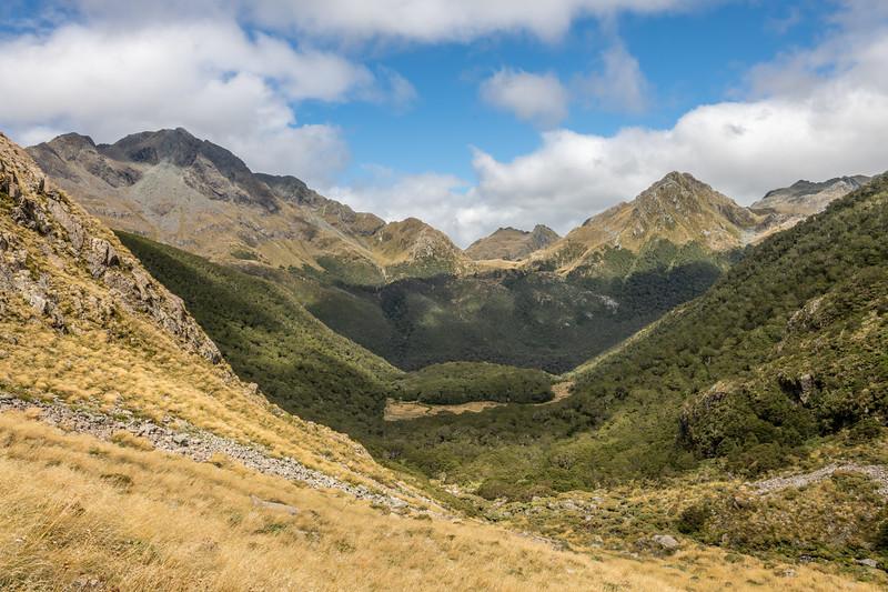 Descending west of Pt 1636m. Skippers Range, Fiordland National Park.