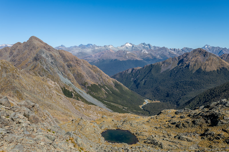 Looking down into the alpine basin east of Pt 1445m. Skippers Range, Fiordland National Park.