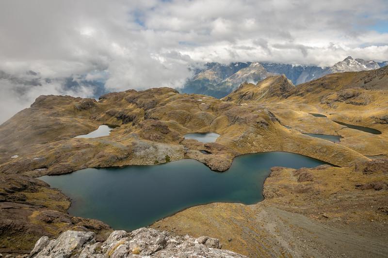 Alpine basins South of Pt 1552m. Skippers Range, Fiordland National Park.