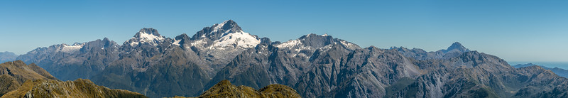 Darran Mountains panorama from Pt 1507m, Skippers Range. Fiordland National Park.