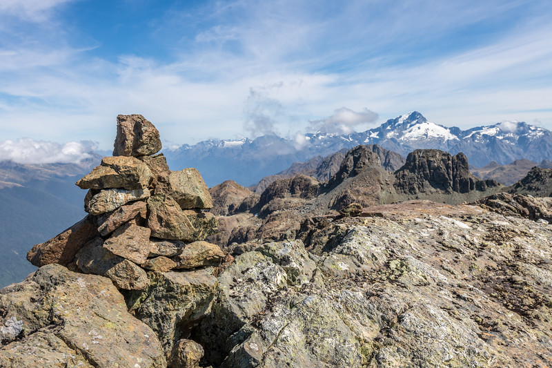Summit cairn on the Skippers Range Hight Point. Skippers Range, Fiordland National Park.