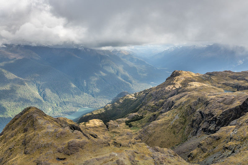 Looking down onto Lake Alabaster and the Hollyford River from Pt 1445m. Skippers Range, Fiordland National Park.