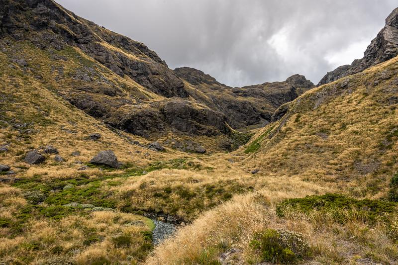 Valley west of Lake Mantle. Skippers Range, Fiordland National Park.
