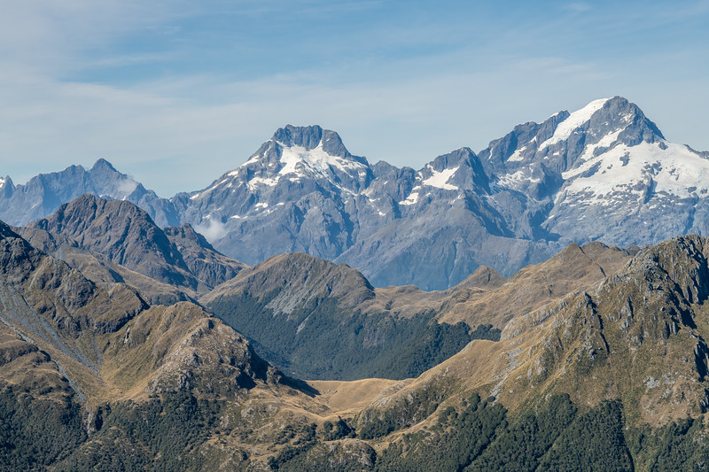 Looking south-west over the Skippers Range from Pt 1401m. From left to right are Mount Te Wera, Mount Madeline and Mount Tutoko. Fiordland National Park.