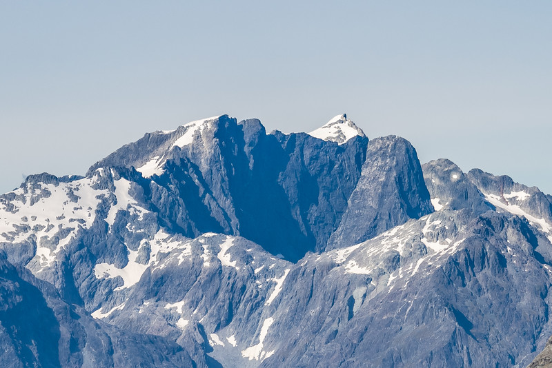 View from Pt 1401m, Skippers Range: Mount Parariki, Paranui Peak and Kaipo Wall. Fiordland National Park.