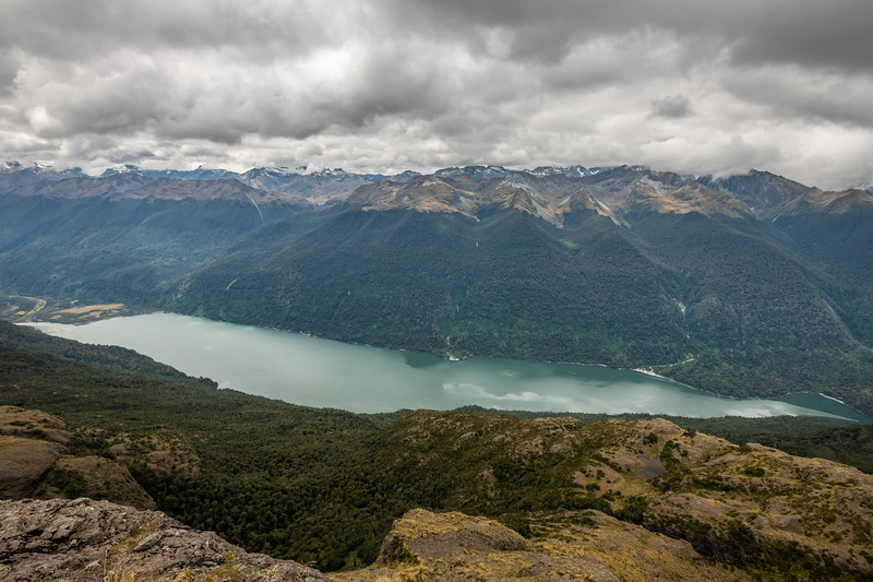 View of Lake Alabaster from the Skippers Range. Fiordland National Park.