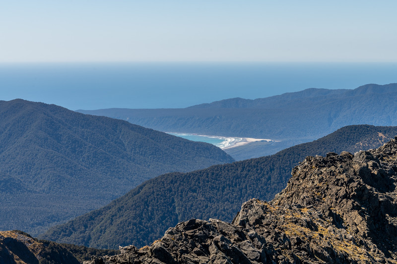 View of Big Bay from Pt 1507m. Skippers Range, Fiordland National Park.
