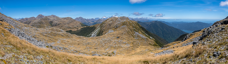View south along the Skippers Range. Fiordland National Park.