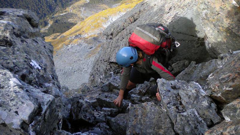 Kat descending the north-east ridge of unnamed peak 1821m; Fraser Creek below. Photo Claire McElwain