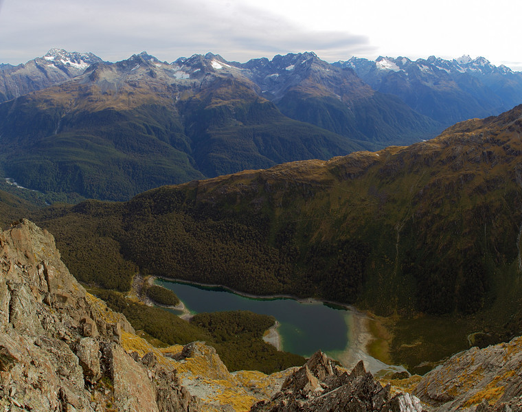 Lake MacKenzie and the Darran Mountains from the summit of unnamed peak 1821m
