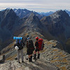 Looking at the route ahead from the summit of unnamed peak 1821m