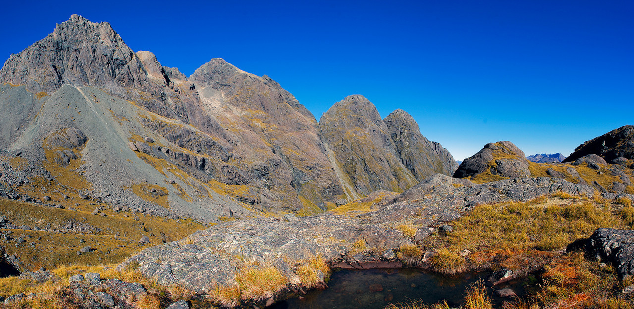 The Ailsa Mountains above Sunny Creek. From left to right are unnamed peaks 1833m, 1945m, 1727m, 1667m