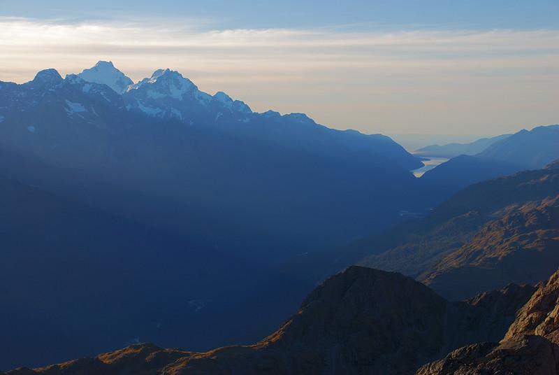 Mt Tutoko, Mt Madeline and Lake McKerrow from the north ridge of unnamed peak 1945m