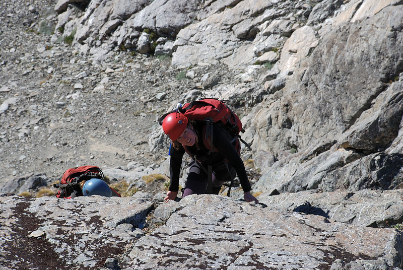 Kat and Claire work their way up unnamed peak 1945m. That's a lot of air under those heels!