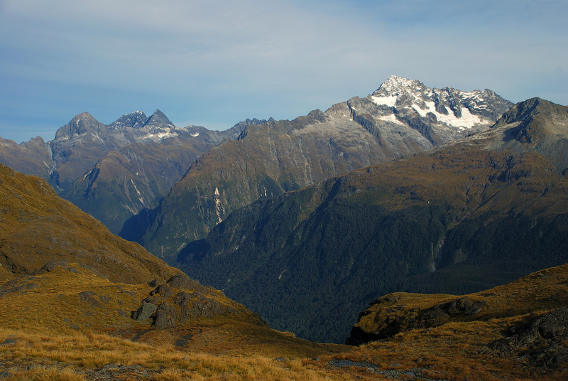 At the head of Roaring Creek. Ngatimamoe Peak, Flat Top Peak, Pyramid Peak and Mt Christina dominate the horizon
