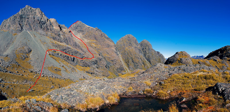 The Ailsa Mountains above Sunny Creek. Route topo for the climb to unnamed peak 1945m