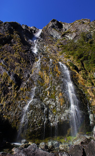 The 174m high Earland Falls, Routeburn Track