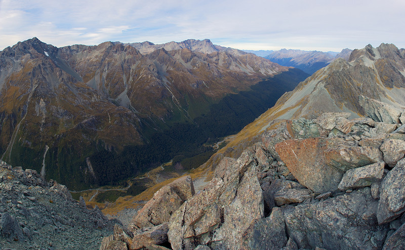 Looking into Fraser Creek from the summit of unnamed peak 1821m. Unnamed peak 2117m (left) and Mt Bonpland (centre image) are across the valley