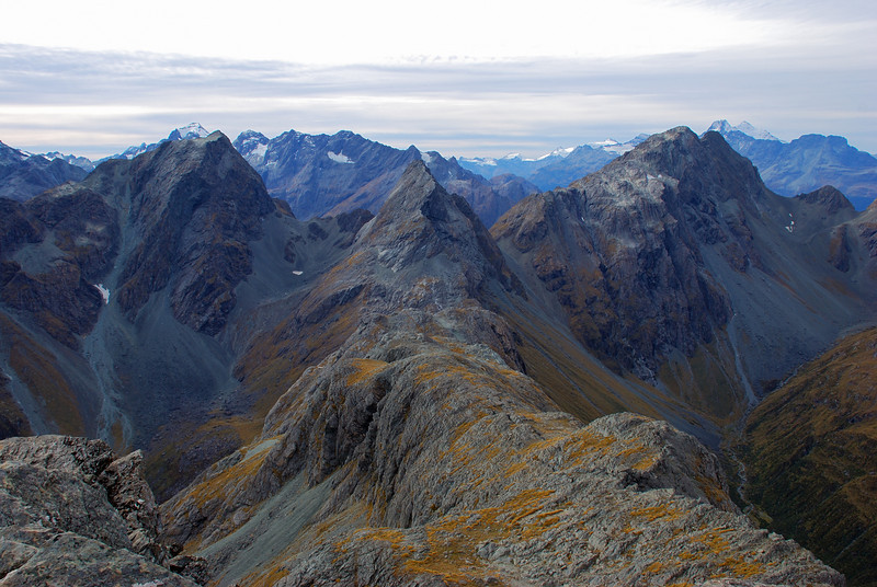 The tops north of unnamed peak 1821m. Peaks in the foreground are F-Knob, Emily Peak and unnamed peak 1952m. Somnus, Momus and Earnslaw are in the background