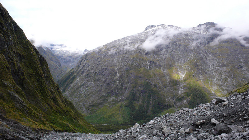 The Upper Hollyford from Cirque Creek, where we reconnoitred the route up Christina