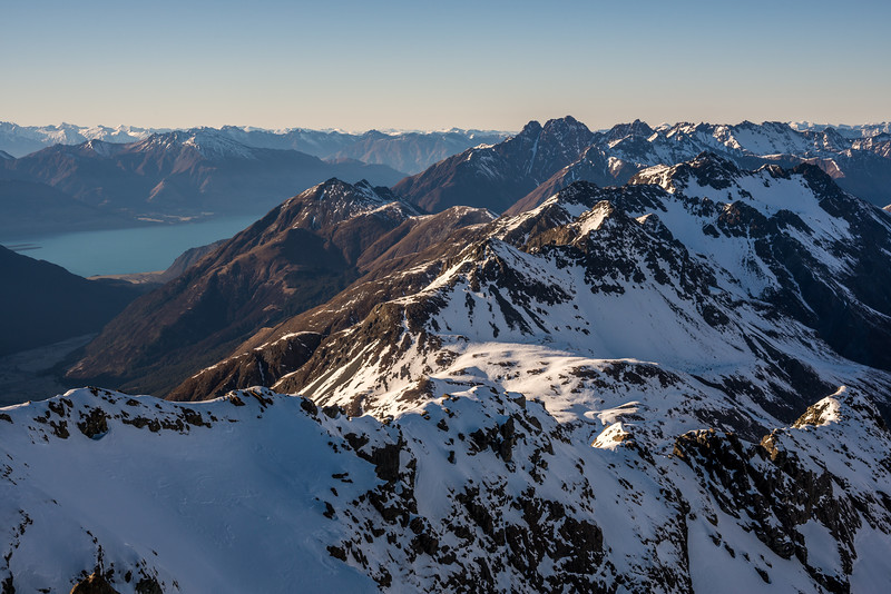 View from Pt 2024m: Ailsa Mountains and Thomson Mountains. Lake Wakatipu back left; Tooth Peak centre right.