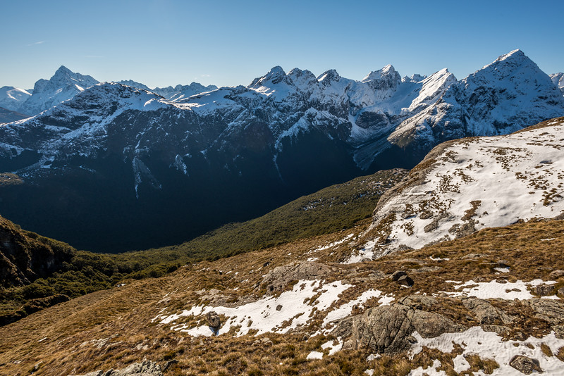 View of the Darran Mountains and Ailsa Mountains from the valley north of West Steele Saddle (Pt 1623m). Mount Christina is on the far left