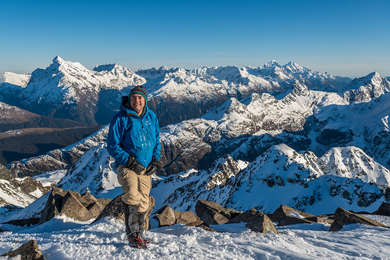 On top of Unnamed Peak Pt 2024m (Tongue Spur Summit). The Darran Mountains in the background