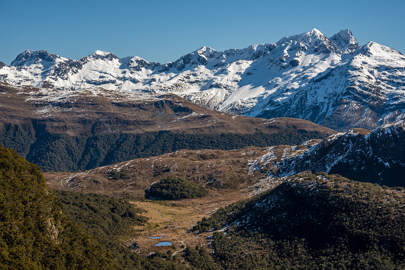 Looking over McKellar Saddle to the Earl Mountains. Triangle Peak is on the far left, Ngatimamoe Peak and Pyramid Peak are on the right.