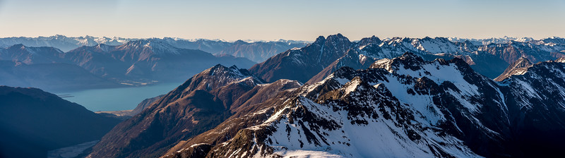 Panorama from Pt 2024m, looking south-east. Lake Wakatipu is on the left; Tooth Peak at centre image. Eyre Peak is on the skyline on the far right.
