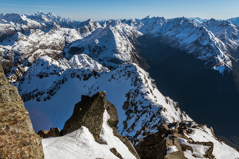 View down the north ridge of Pt 2024m (my ascent route) and into Fraser Creek. The prominent peaks on the horizon are Mount Tutoko, Mount Madeline (left) and Somnus (centre - right)