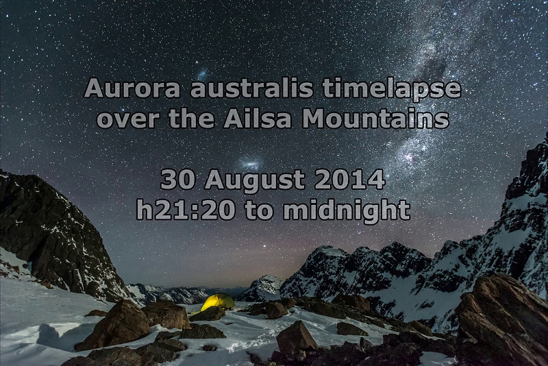 Timelapse: aurora australis over the Ailsa Mountains. Click on image to play video