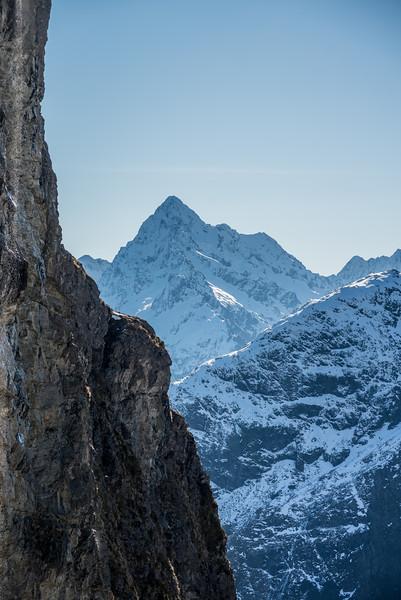 Mount Christina behind the bluffs below West Steele Saddle