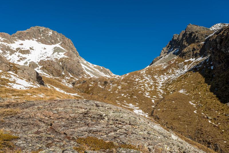 Looking up towards West Steele Saddle (Pt 1623m)
