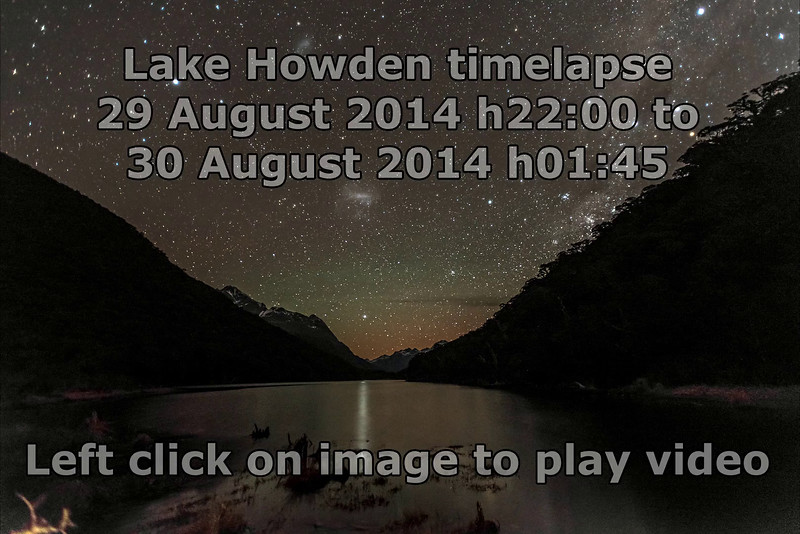 Time lapse video - night sky over Lake Howden