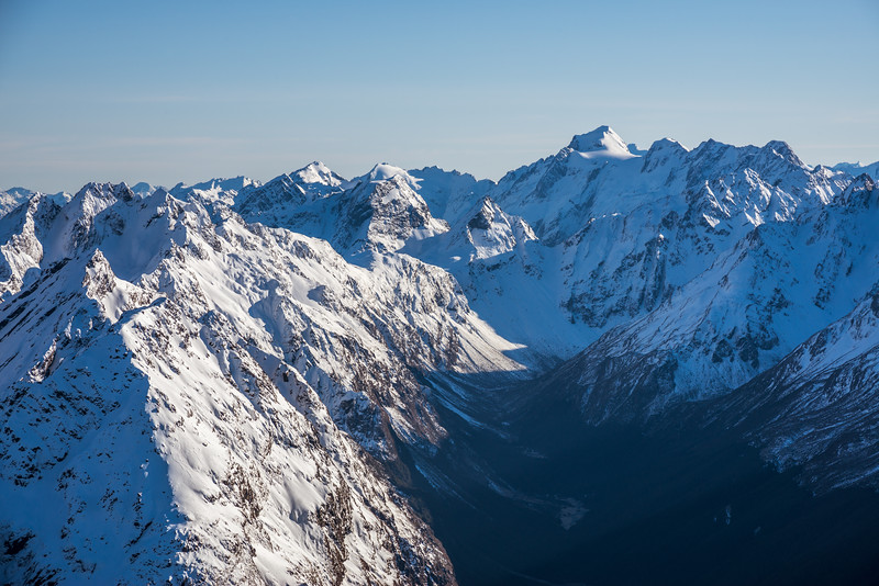 View into the head of Fraser Creek from the summit of Pt 2024m. Somnus stands out in the background
